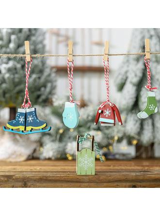 Trineo Colgando De madera Colgante de navidad Adornos colgantes de árboles (Juego de 5)