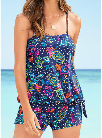 Tropical Print Strap Bohemian Tankinis Swimsuits