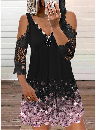 Druck/Blumen Spitze 3/4 Ärmel silhouette Etuikleider Über dem Knie Lässige Kleidung Tunika Kleider