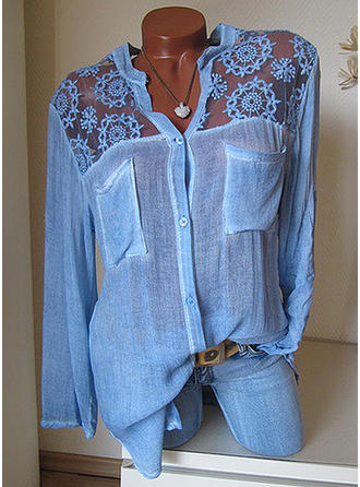 Solid Lace V-Neck Long Sleeves Button Up Casual Shirt Blouses