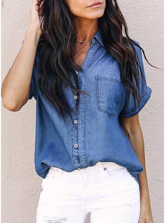 Bawełna Lapel Jednolity kolor Krótkie Rękawy Nieformalny Bluzki
