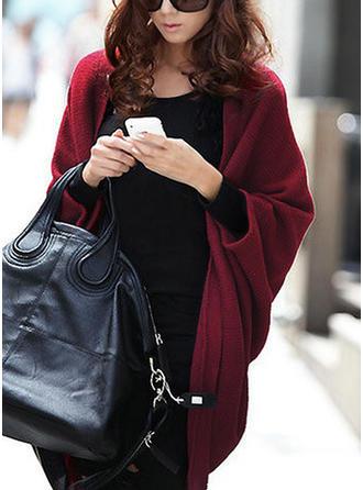 Knitting Long Sleeves Plain Wide-Waisted Coats