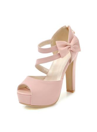 De mujer PU Tacón ancho Sandalias Salón Plataforma Encaje con Bowknot zapatos