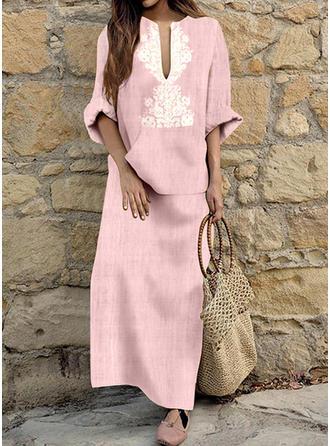 Print 1/2 Sleeves Shift Maxi Casual/Vacation Dresses