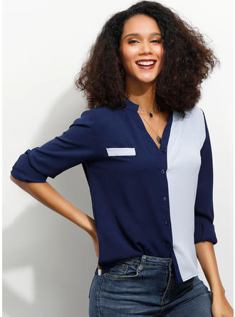 Color Block V Neck Long Sleeves Button Up Casual Elegant Blouses