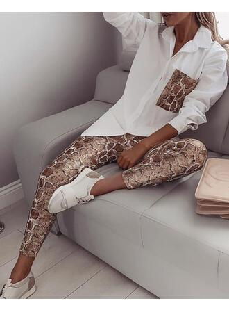 Turn-down Collar Long Sleeves Snakeskin Fashionable Top & Pants Sets