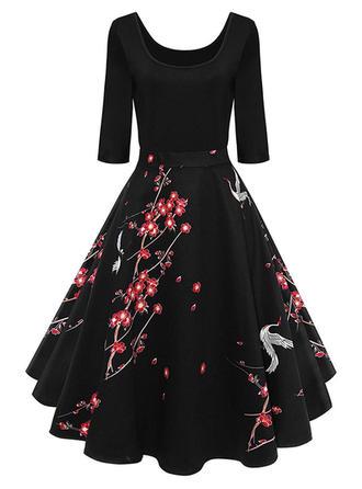 Wydrukować Kwiatowy U Dekolt Midi Sukienka Trapezowa