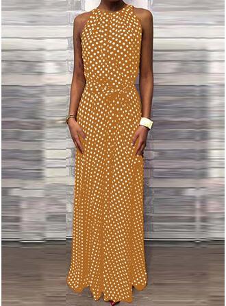 Nadrukowana/Groszki Bez rękawów W kształcie litery A Casual Maxi Sukienki