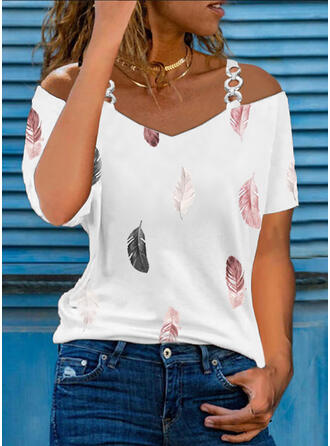 Print Feather Cold Shoulder Short Sleeves Casual Blouses