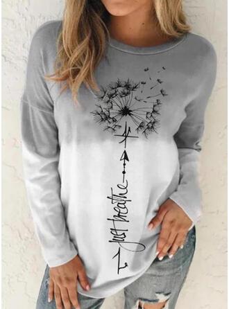 Print Figur Mælkebøtte Gradient rund hals Lange ærmer Sweatshirts