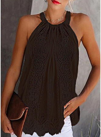 Solid Lace Round Neck Sleeveless Casual Tank Tops