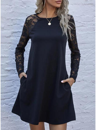 Encaje/Sólido Manga Larga Tendencia Sobre la Rodilla Pequeños Negros/Elegante Túnica Vestidos