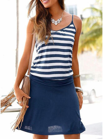 Striped/Patchwork Sleeveless Sheath Above Knee Casual/Vacation Dresses