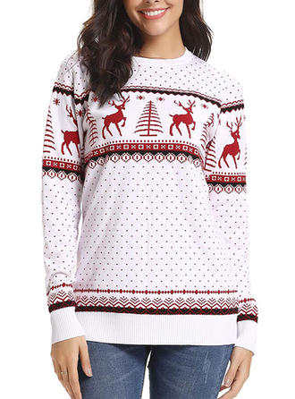 Women's Polyester Print Reindeer Christmas Sweatshirt