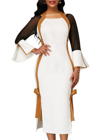 Color-block Long Sleeves/Flare Sleeves Sheath Midi Casual Dresses