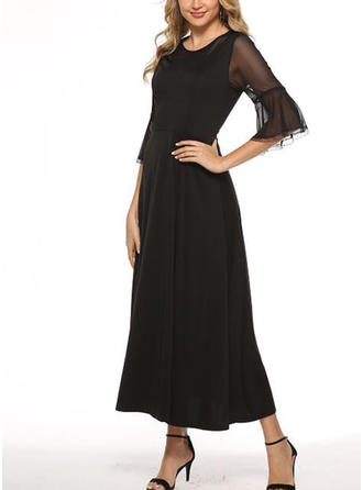 Solid Long Sleeves A-line Maxi Little Black/Casual Dresses