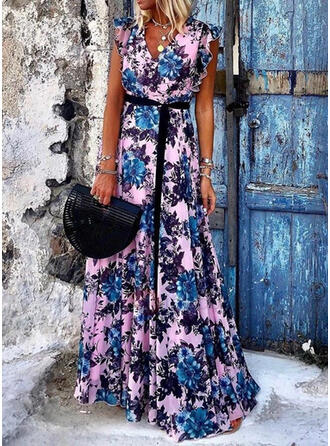 Print/Floral Cap Sleeve A-line Casual/Vacation Maxi Dresses