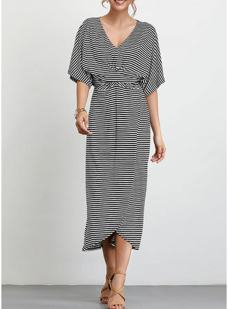 Striped 1/2 Sleeves A-line Casual Midi Dresses