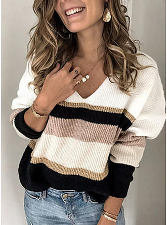Color Block Cable-knit Chunky knit V-Neck Sweaters