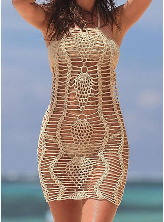 Solid Color Crochet Mesh Halter Boho Cover-ups Swimsuits