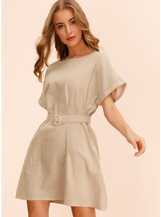 Solid Short Sleeves A-line Above Knee Casual Dresses