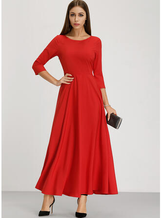 Solid 1/2 Sleeves Shift Maxi Party/Elegant Dresses