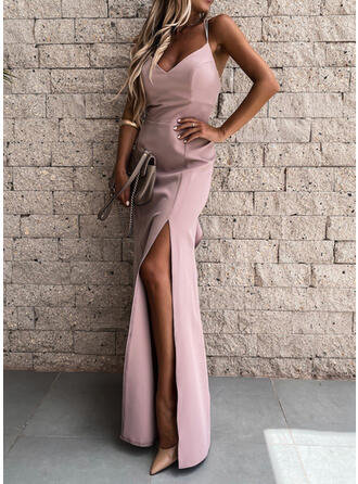 Solid Sleeveless Sheath Slip Sexy/Party Maxi Dresses
