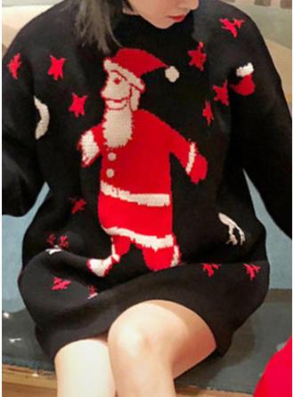 Bawełna Okrągły Dekolt Wydrukować Masywna dzianina Brzydki świąteczny sweter