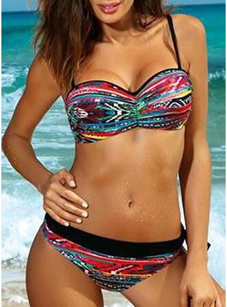 Stripe Print Strap Sexy Bohemian Bikinis Swimsuits