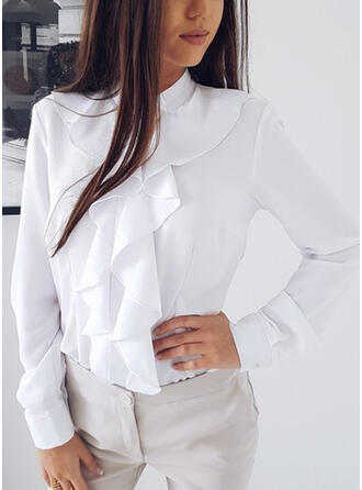 Solid Stand collar Long Sleeves Casual Elegant Blouses