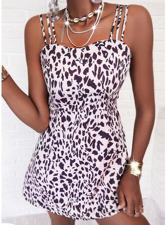 leopard Bez rukávů Áčkové Nad kolena Neformální Patinator Rochii