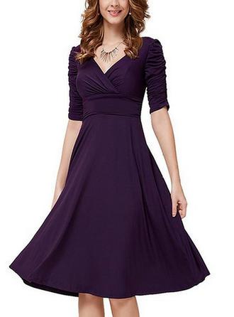 Solid V-neck Knee Length A-line Dress
