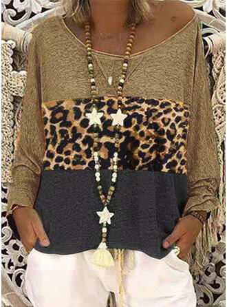 Animal Print One-Shoulder Long Sleeves Casual Knit T-shirts