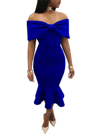 Solid Off-the-Shoulder Maxi Bodycon Dress
