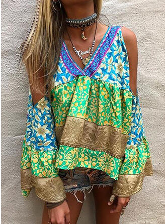 Print Floral Patchwork Cold Shoulder Long Sleeves Casual Blouses