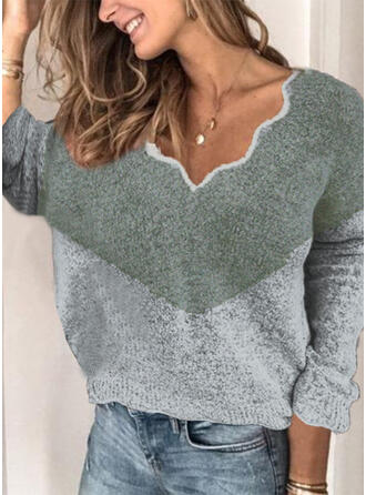 Color Block V-Neck Sweaters