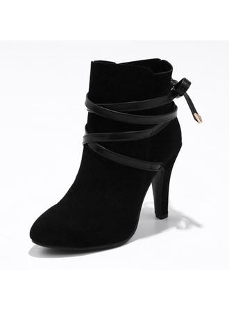 Women's Suede Stiletto Heel Pumps Boots With Lace-up shoes