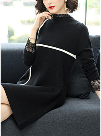 Striped Stand Collar Sweater Dress