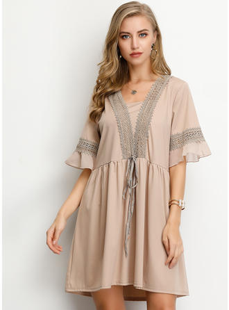 Lace/Solid 1/2 Sleeves/Flare Sleeves Shift Above Knee Casual Dresses
