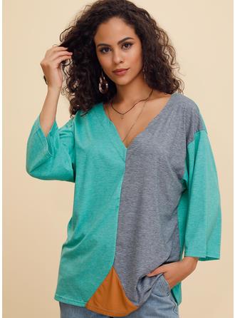 Color block V-hals 3/4 ærmer Casual T-shirts