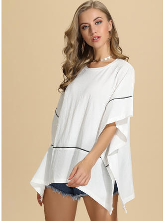 Solid Round Neck Batwing Sleeve 1/2 Sleeves Casual Elegant Blouses