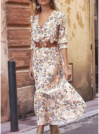 Print/Floral 3/4 Sleeves A-line Casual/Elegant Midi Dresses