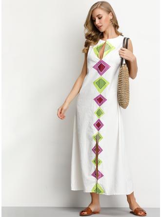 Geometric Print Sleeveless Shift Casual/Boho/Vacation Maxi Dresses