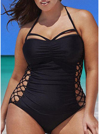 Solid Color Halter One-piece Swimsuit