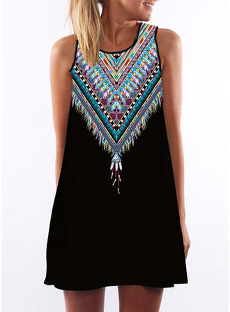 Print Sleeveless Shift Above Knee Sexy/Casual/Boho Dresses