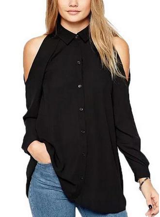 Szyfon Lapel Jednolity kolor Długie rękawy Koszula Bluzki