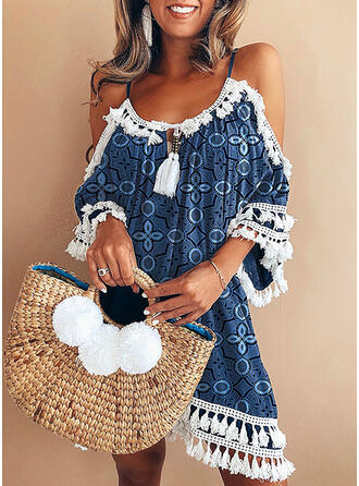 Lace/Print/Tassel 3/4 Sleeves Shift Above Knee Casual/Vacation Tunic Dresses