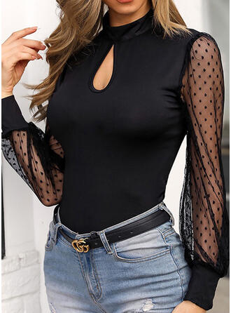 Solid PolkaDot Stand collar Long Sleeves Casual Knit Blouses