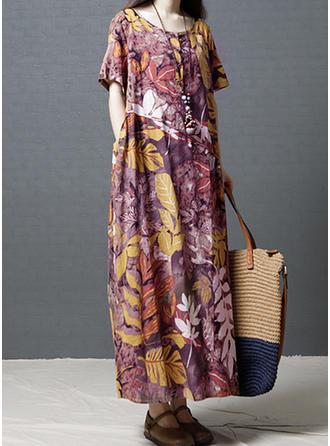 Print/Floral 1/2 Sleeves Shift Maxi Casual/Boho/Vacation Dresses