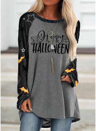 Halloween Druck Farbblock Buchstaben Rundhalsausschnitt Lange Ärmel Pullover